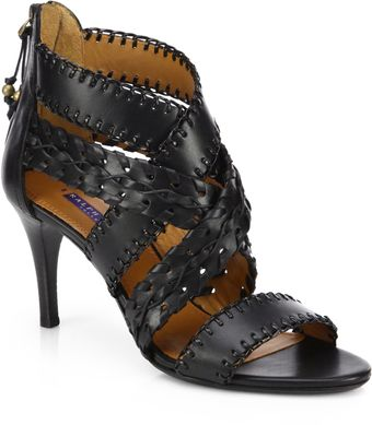 Ralph Lauren Collection Ardina Woven Leather Sandals - Lyst