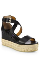 Ralph Lauren Collection Esabel Leather Espadrille Wedge Sandals - Lyst