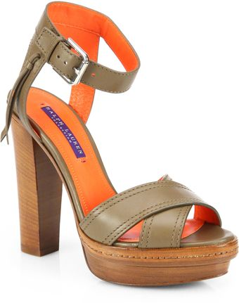Ralph Lauren Collection Gerine Leather Woodenheel Sandals - Lyst