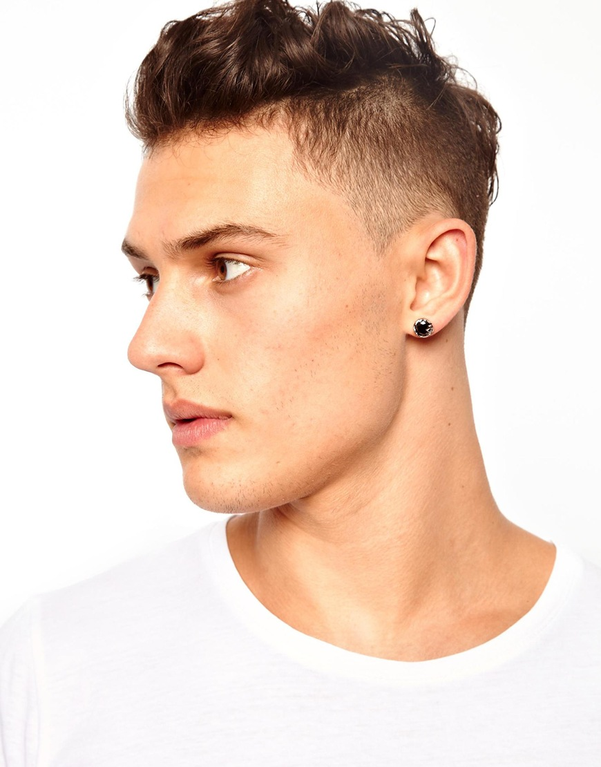 Lyst Asos Stud Earring In Metallic For Men