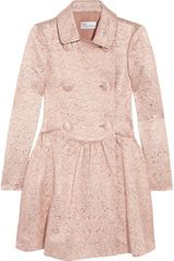 RED Valentino Double Breasted Brocade Coat - Lyst