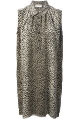 Saint Laurent Leopard Print Shirt Dress - Lyst