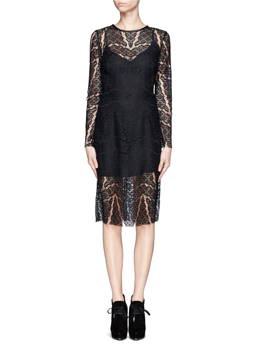 Lyst Sandro Lace Overlay Dress In Black