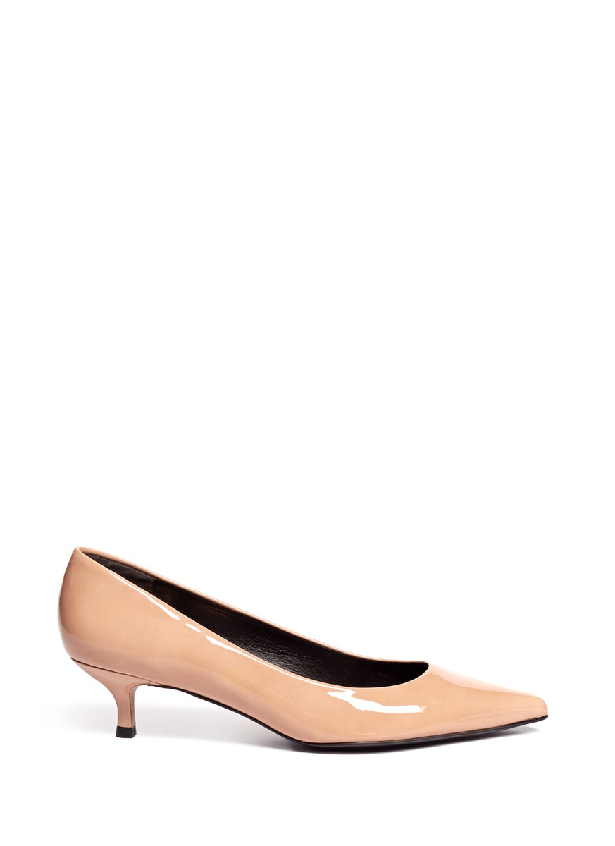 2a1903eb9977e Stuart Weitzman Kitten Heel Pointed-toe Pumps in Natural - Lyst
