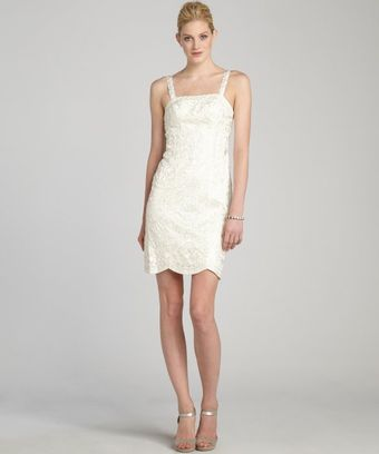 Sue Wong White Embellished Stretch Lace Sleeveless Dress - Lyst