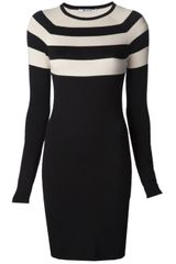 T By Alexander Wang Stripe Long Sleeve Dress - Lyst