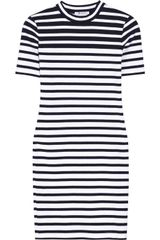 T By Alexander Wang Striped Stretchcotton Mini Dress - Lyst