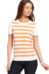 Tommy Hilfiger Short sleeve Sequin Striped Sweater - Lyst