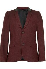 Topman Burgundy Fleck Leather Look Back Neck Blazer - Lyst