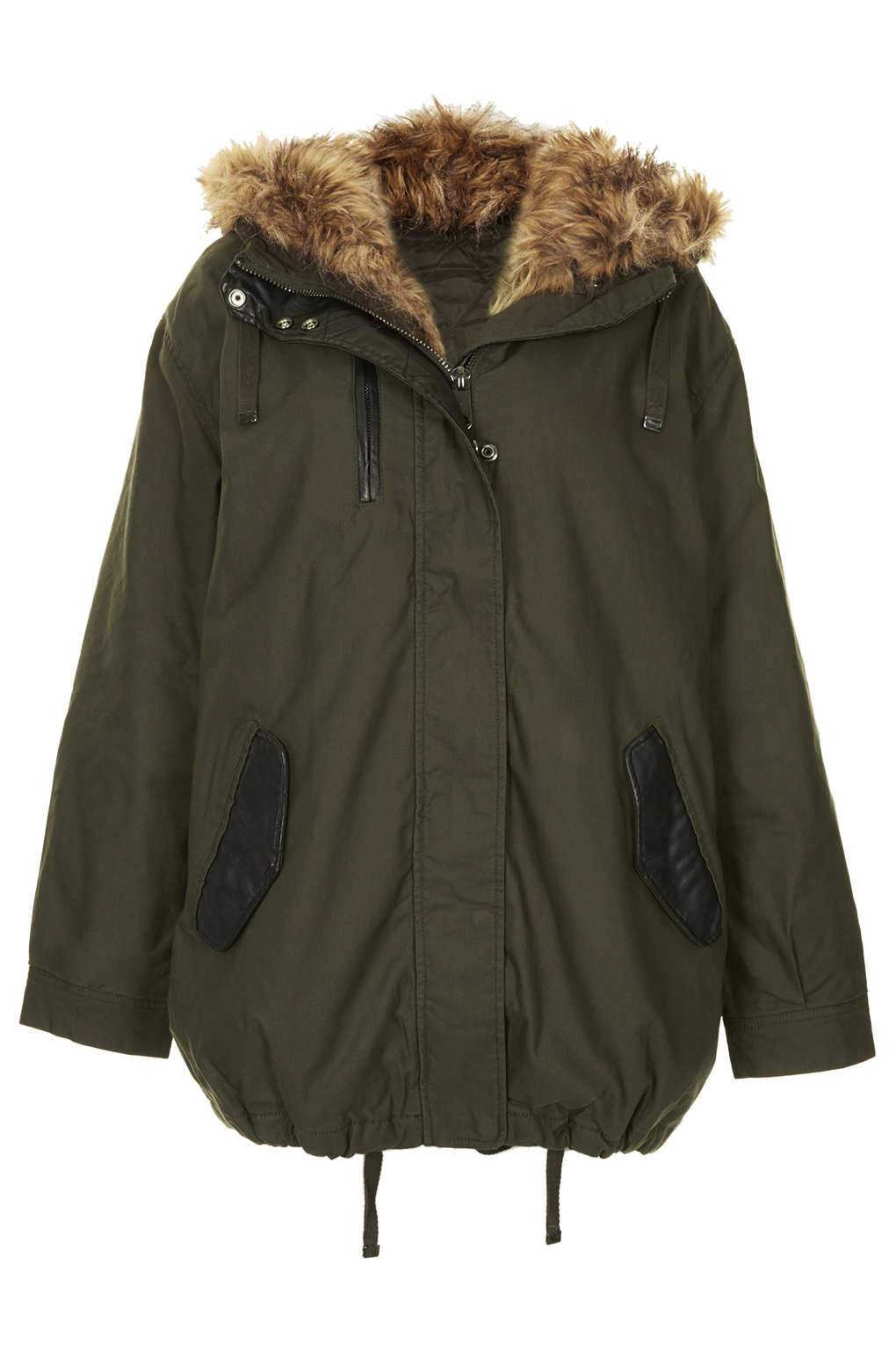 Topshop Faux Fox Fur Oversized Padded Parka in Green | Lyst