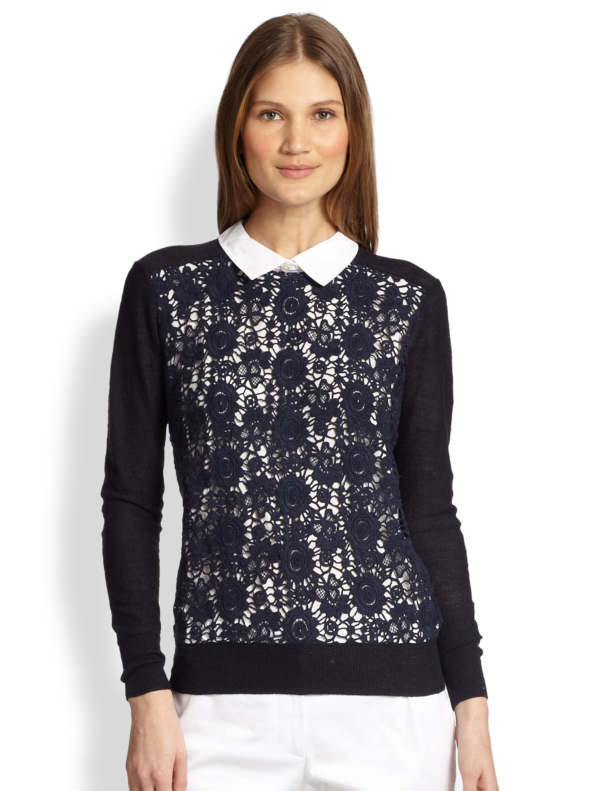 Tory burch Sandy Crochet Panel Sweater in Blue | Lyst