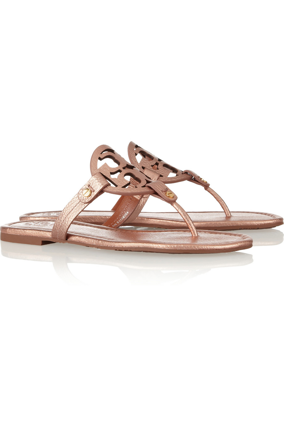 lyst tory burch miller metallic leather sandals in pink. Black Bedroom Furniture Sets. Home Design Ideas