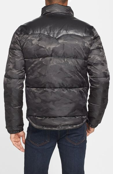 True Religion Camo Puffer Jacket With Leather Yokes In