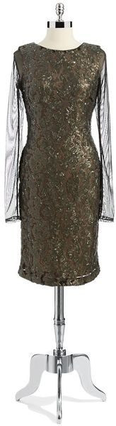 Vera Wang Sequin Illusion Dress - Lyst