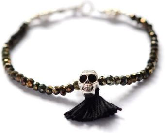 Vivien Frank Designs Golden Black Spinel and Silver Skull Bracelet - Lyst