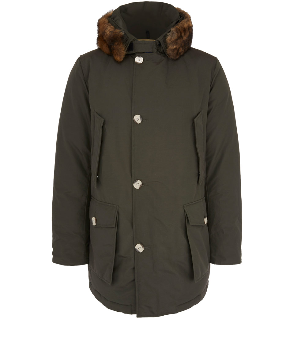 Woolrich Khaki Arctic Faux Fur Trim Parka Jacket In Khaki