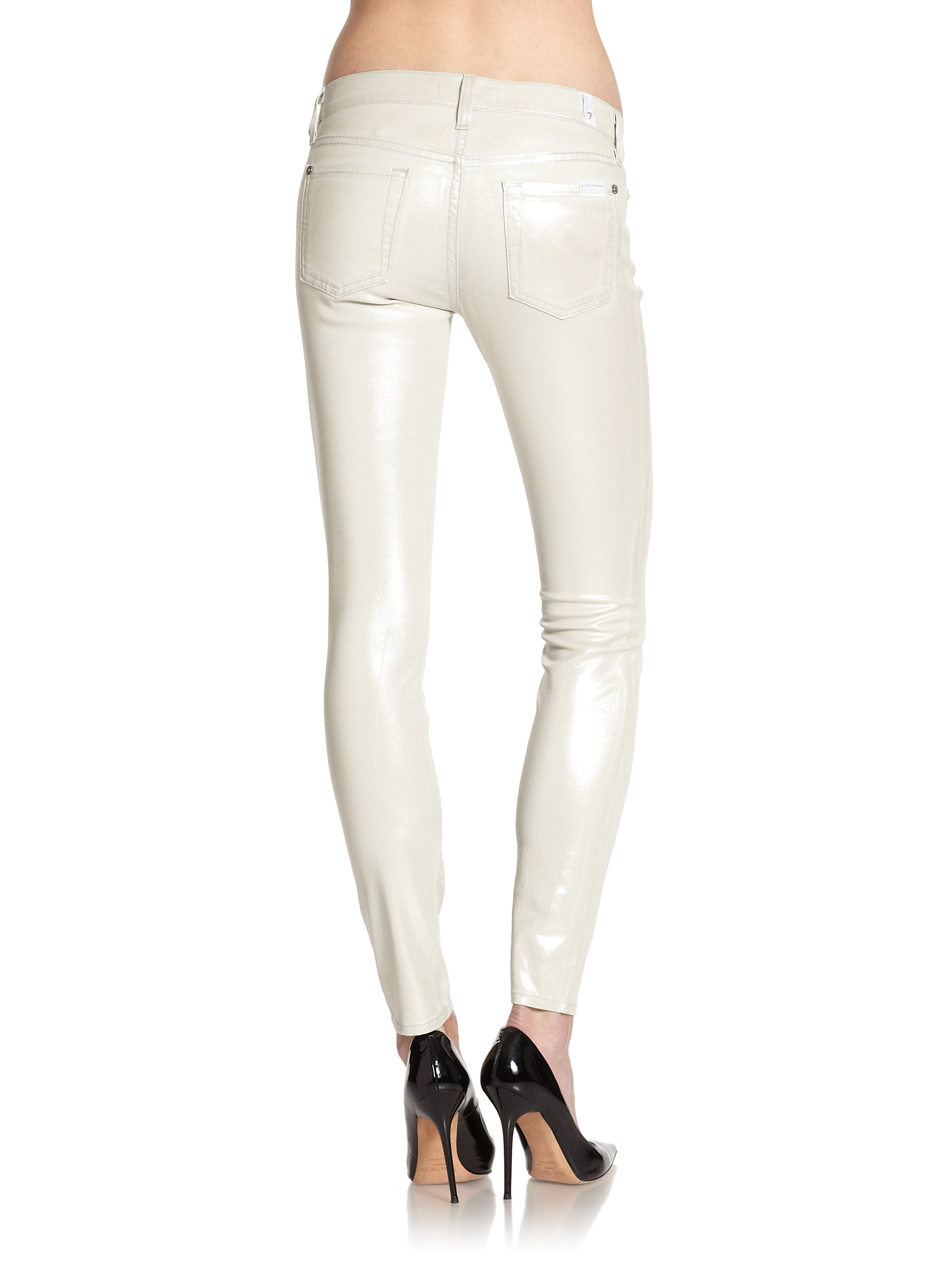 7 for all mankind The Skinny Jean in White | Lyst