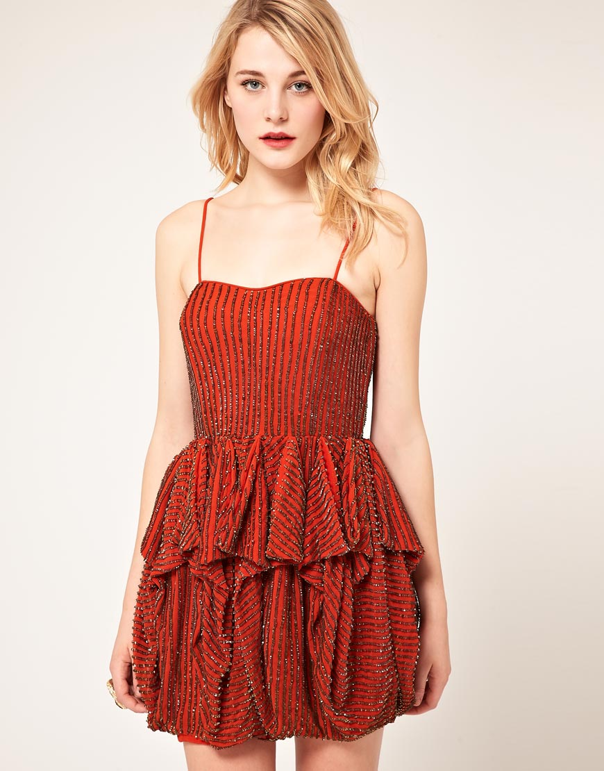 French connection Sequin Bandeau Dress in Orange | Lyst