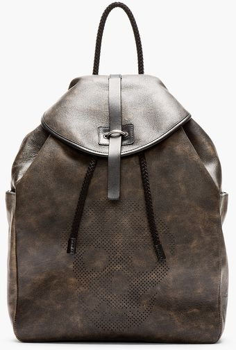 Alexander McQueen Black Mottled Leather Perforated Skull Backpack - Lyst
