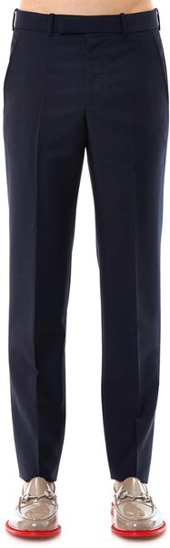 Alexander McQueen Flat Front Tailored Trousers - Lyst
