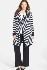 Anne Klein Stripe Long Flyaway Cardigan - Lyst