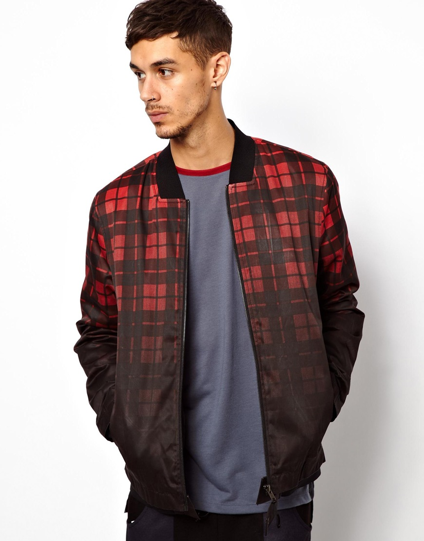 Asos Asos Checked Bomber Jacket in Red for Men | Lyst