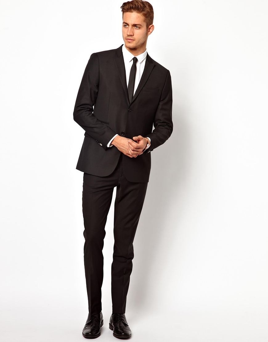 Asos River Island Skinny Fit Suit Pants in Black in Black for Men