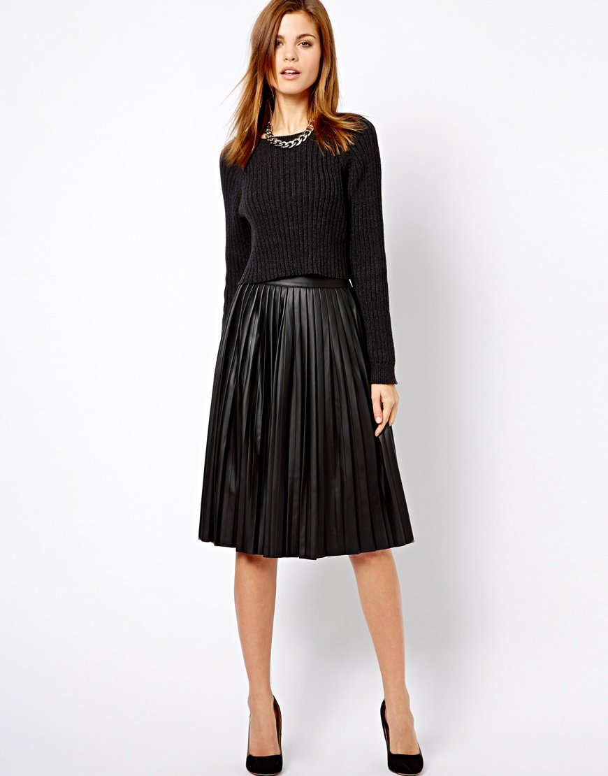 Asos Warehouse Leather Look Pleated Midi Skirt in Black | Lyst
