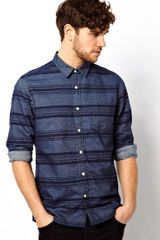 Asos Shirt in Long Sleeve with Shadow Stripe - Lyst