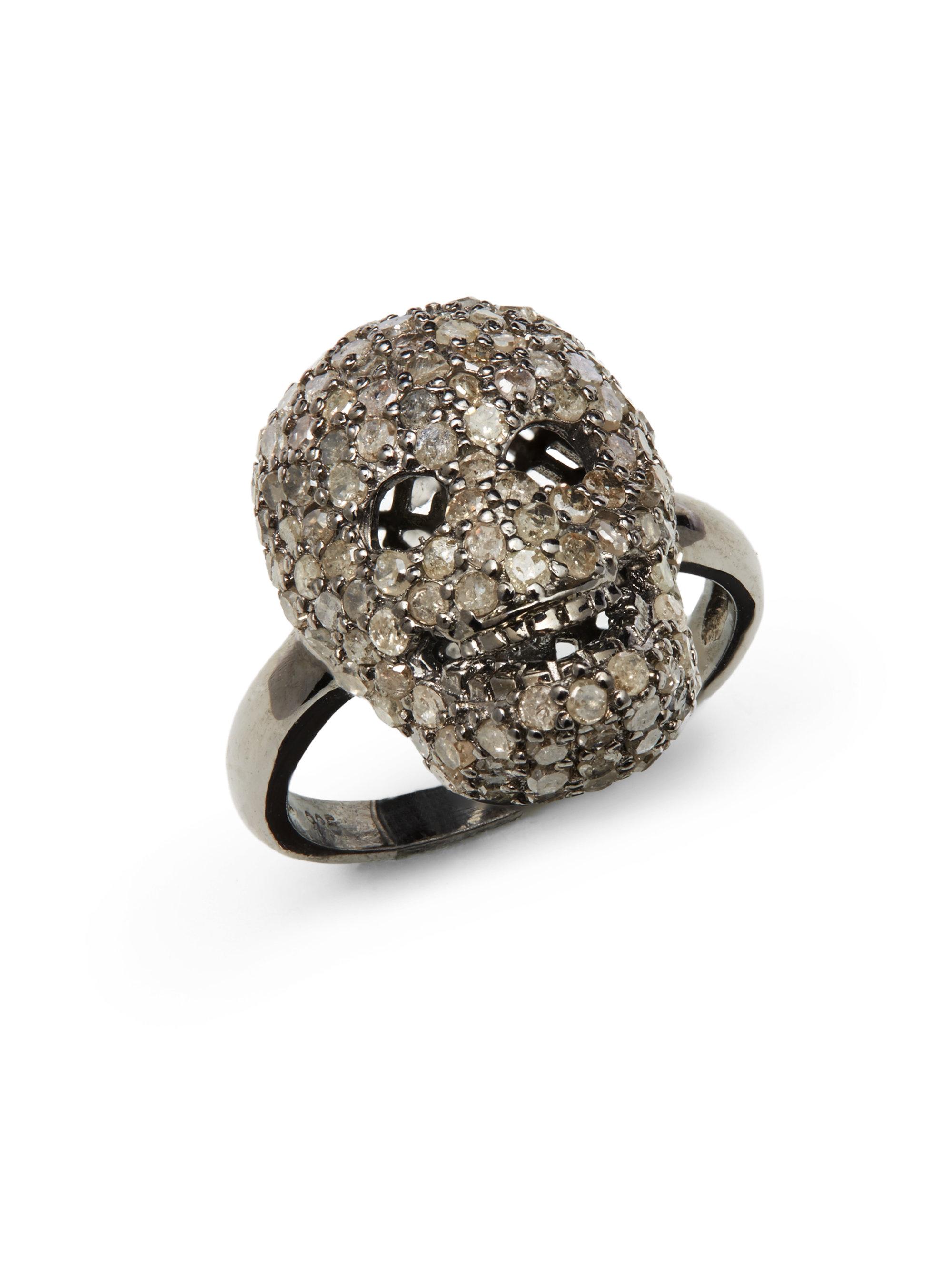 Bavna Three-Row Diamond Pavé Ring, Size 6