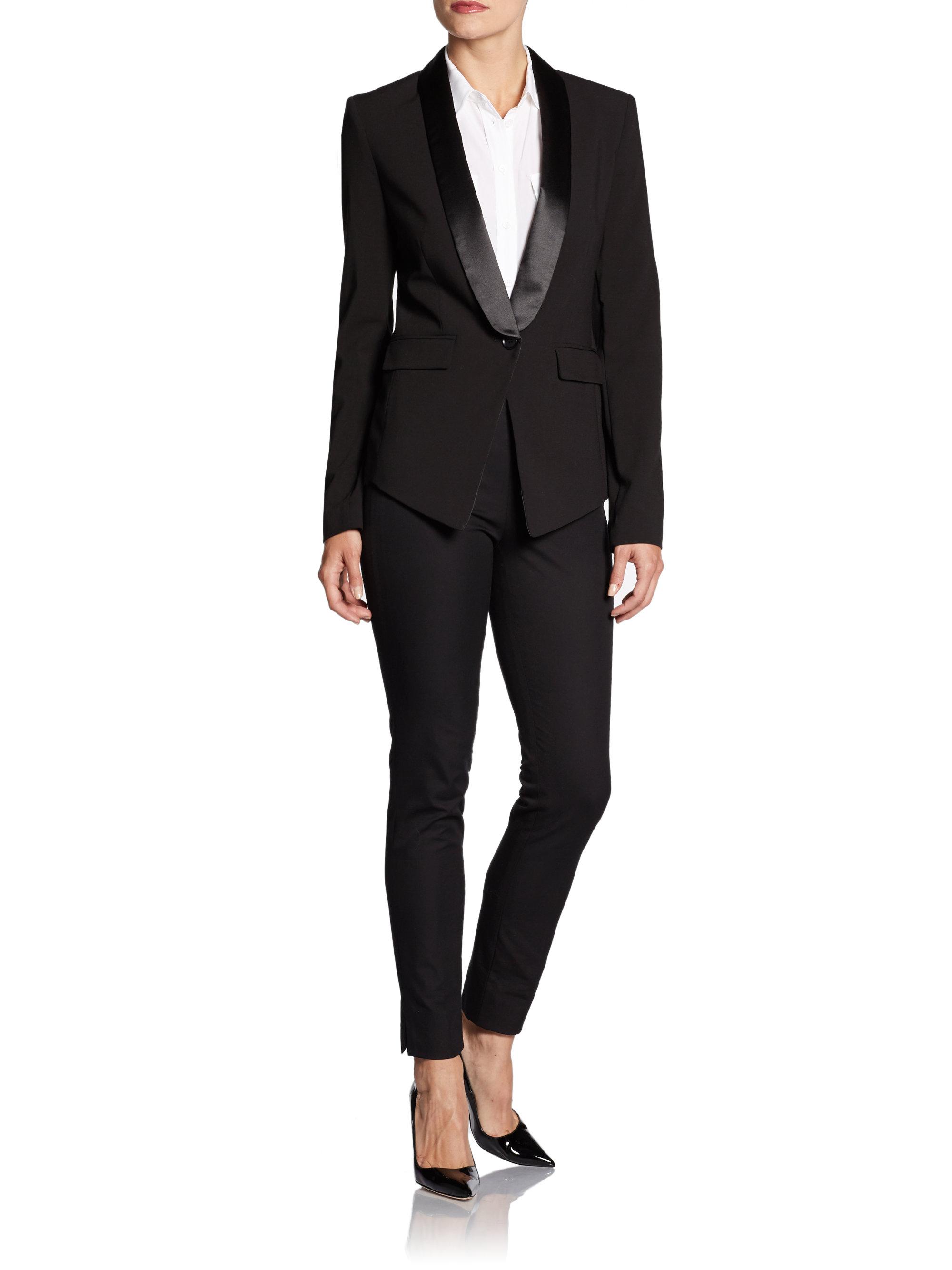 Lyst Bcbgmaxazria Satin Shawl Collar Tuxedo Blazer In Black
