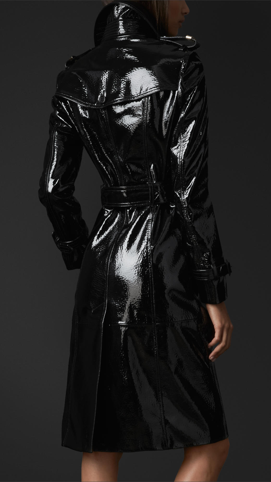 Burberry Laminated Leather Trench Coat In Black Lyst