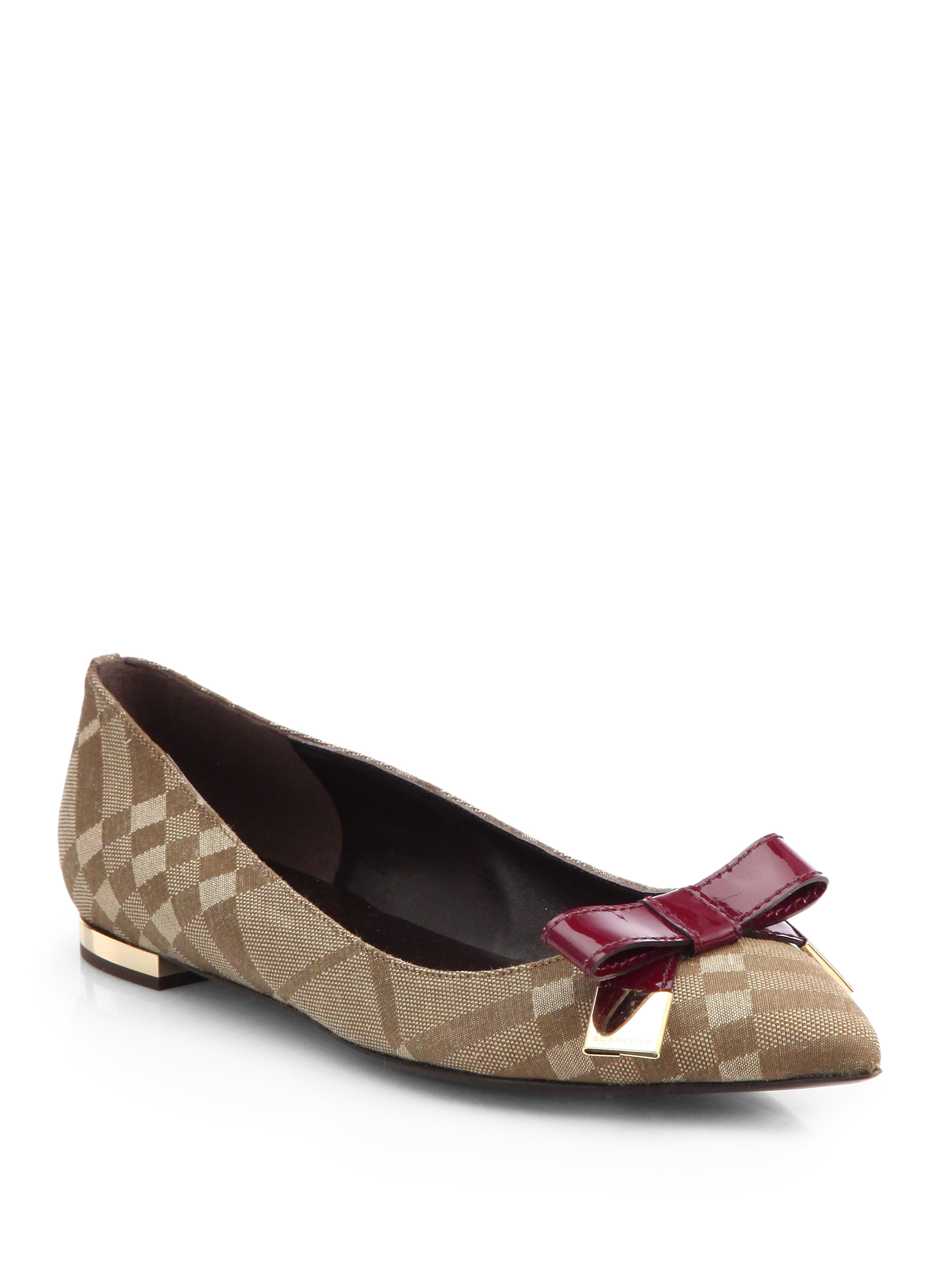 burberry syon check canvas patent leather ballet flats in