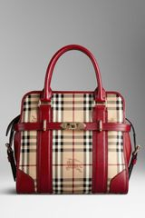 Burberry Medium Haymarket Check Portrait Tote Bag - Lyst