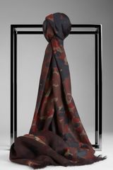 Burberry Abstract Camouflage Print Wool Cotton Scarf - Lyst