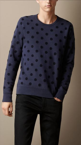 Burberry Cotton Cashmere Polka Dot Sweater - Lyst