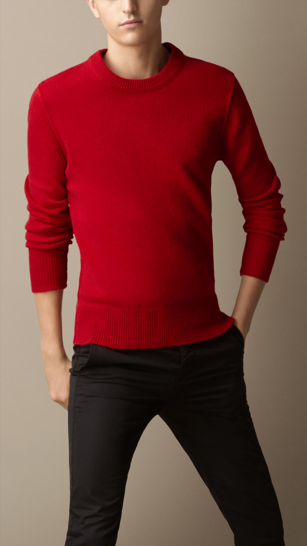 Lyst Burberry Elbow Patch Cashmere Sweater In Red For Men