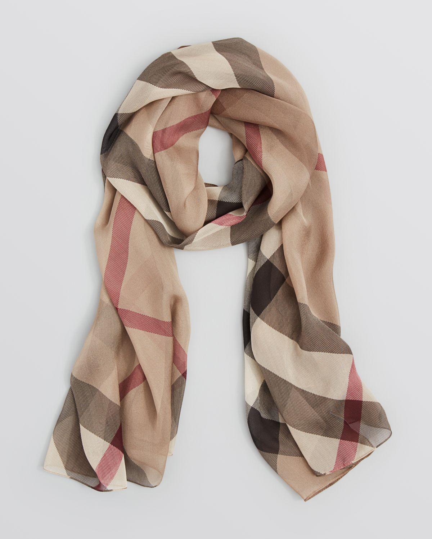 d70286ced9b1 ... sale lyst burberry colorblock check silk chiffon scarf in gray b85e3  9bc94
