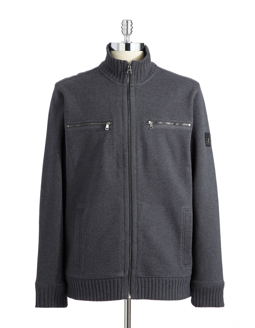 lyst calvin klein zip up sweater in gray for men. Black Bedroom Furniture Sets. Home Design Ideas