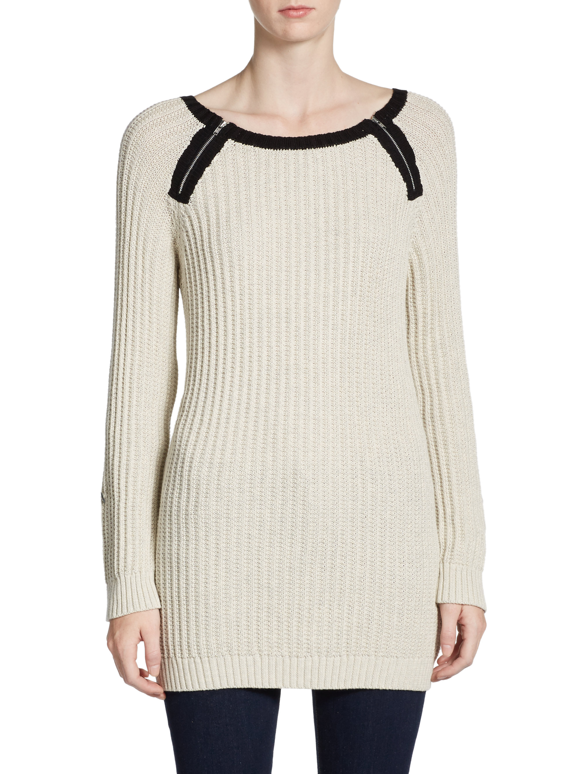 Cotton By Autumn Cashmere Zip Detailed Sweater Tunic in ...