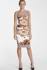 Dolce & Gabbana Wheel Print Ruched Tank Dress - Lyst