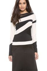Donna Karan New York Striped Long Sleeve Top - Lyst