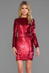 Dress The Population Lola Long Sleeve Mini Dress in Red - Lyst