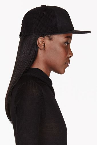 DRKSHDW by Rick Owens Black Leather and Corduroy Baseball Cap - Lyst