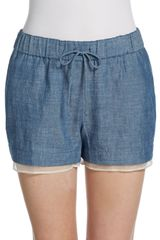 Elizabeth And James Jake Cotton Chambray Silk Drawstring Shorts - Lyst