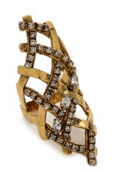 Erickson Beamon Heart Of Gold Cross Ring - Lyst