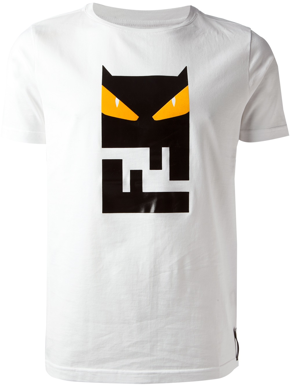 Lyst fendi owl logo print t shirt in white for men for Print photo on shirt