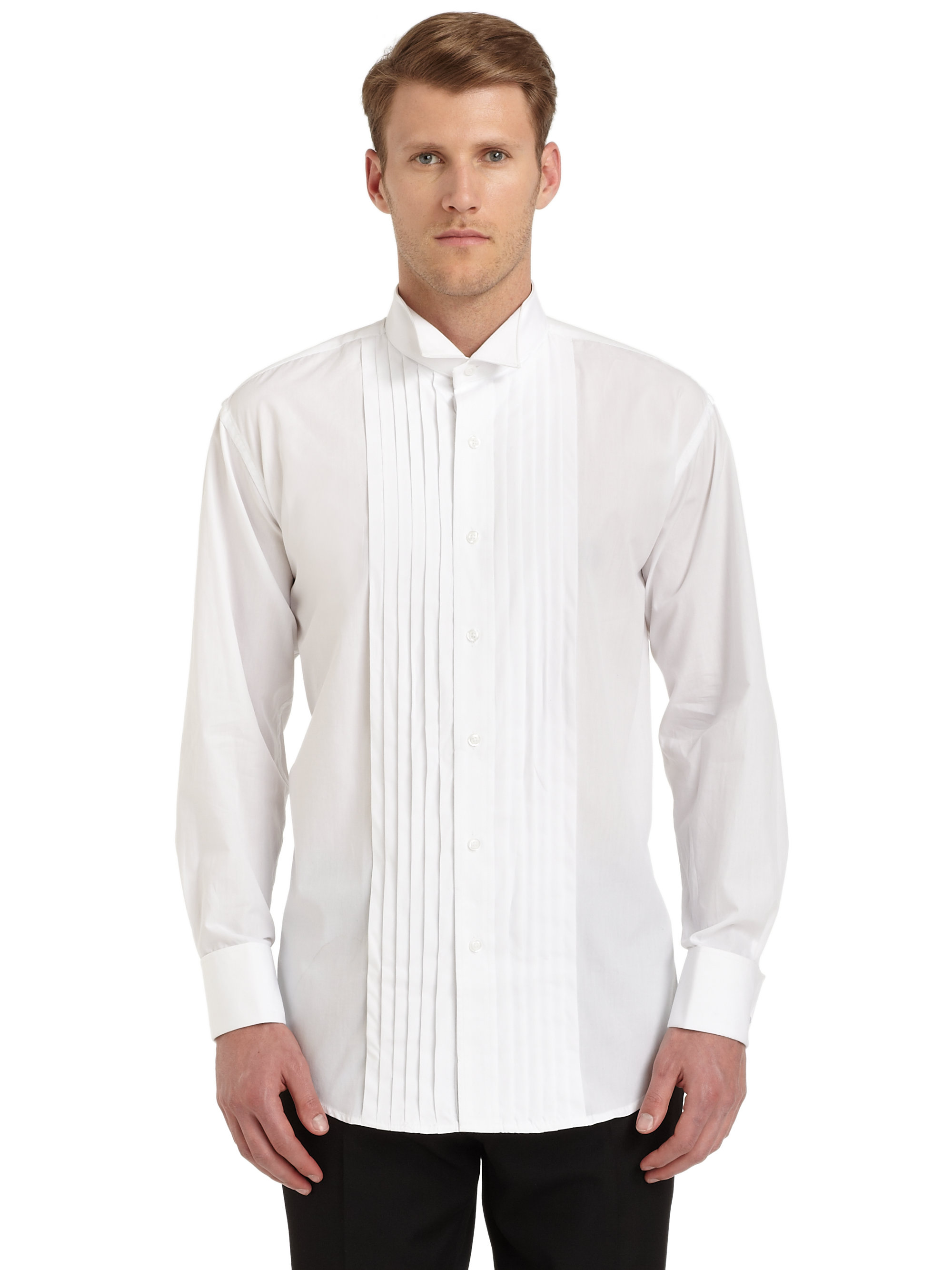 Ike behar tuxedo collar formal cotton shirt in white for for Mens formal white shirts