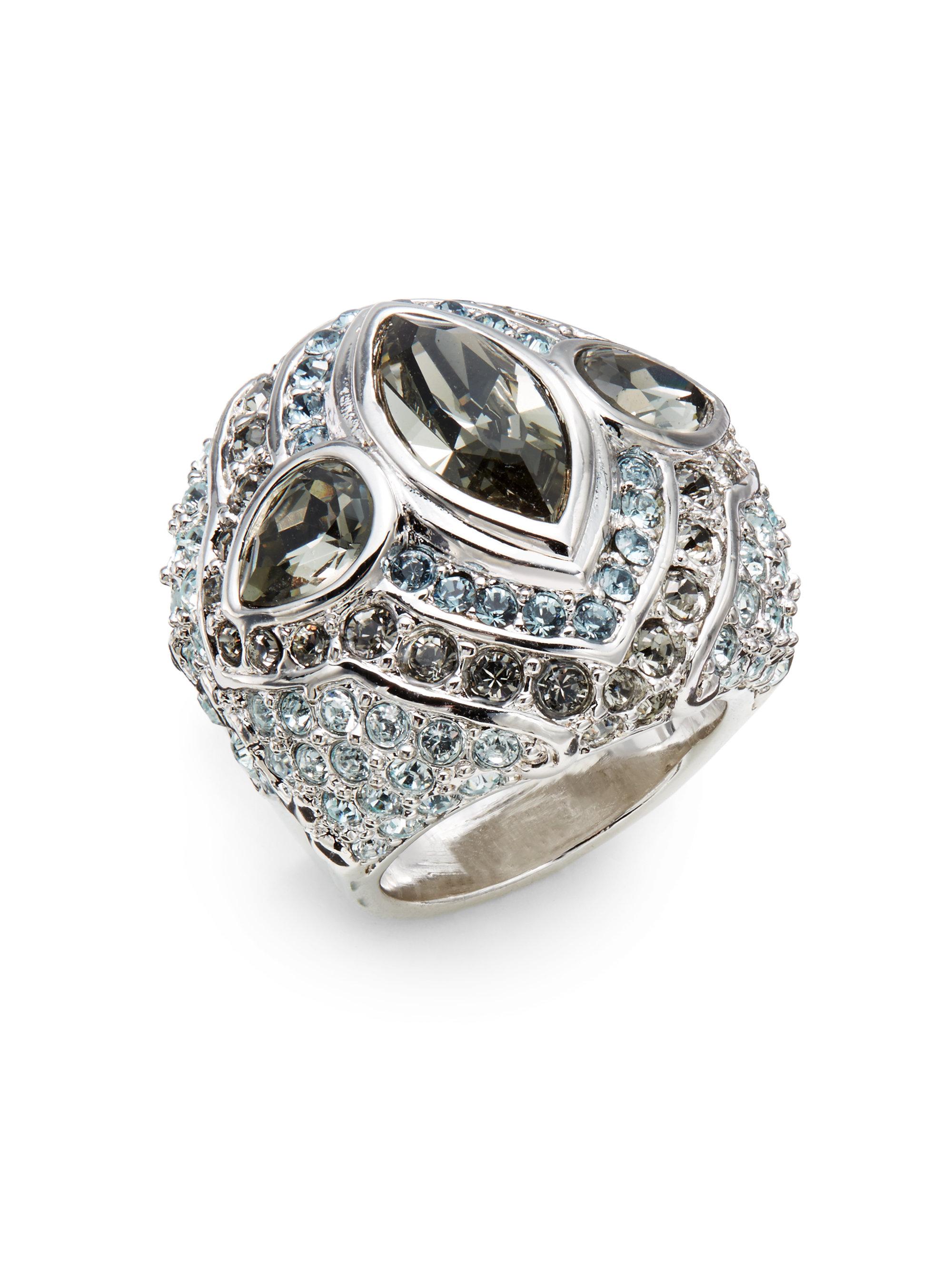 Judith Leiber Domed Pav 233 Crystal Cocktail Ring In Metallic