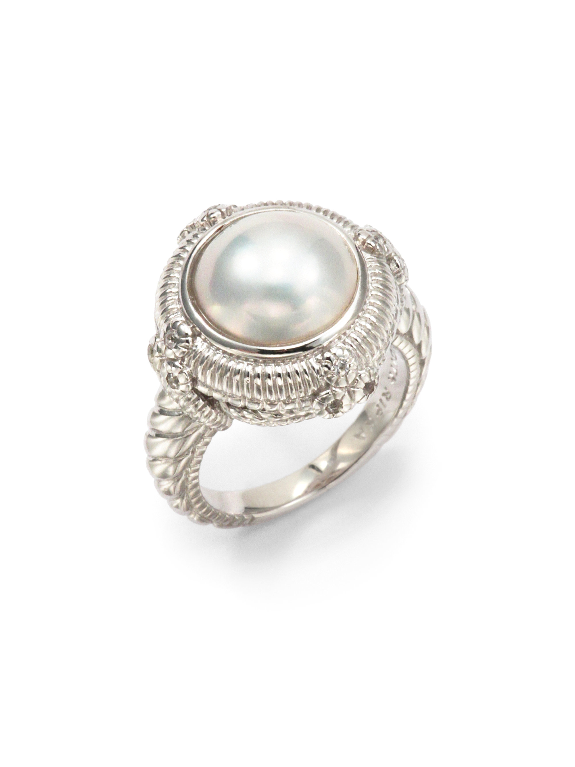 Lyst Judith Ripka 12mm White Mabe Pearl White Sapphire